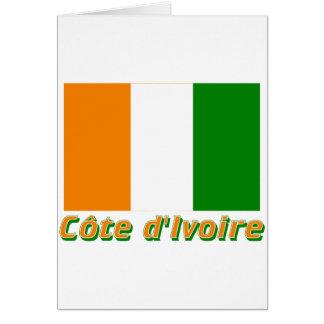 Drapeau Côte d'Ivoire avec le nom en français Greeting Cards