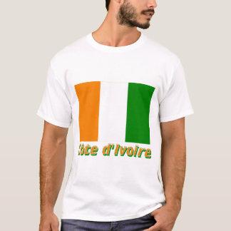 Drapeau Côte d'Ivoire avec le nom en français T-Shirt