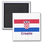 Drapeau Croatie avec le nom en français Refrigerator Magnets