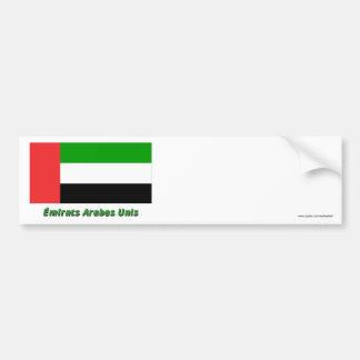 Drapeau Émirats arabes unis avec nom en français Bumper Sticker