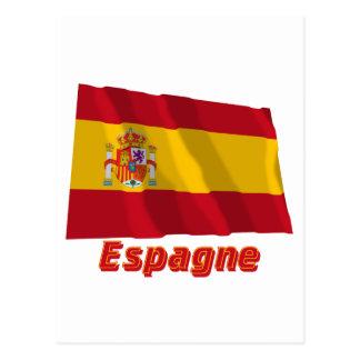 Drapeau Espagne avec le nom en français Postcards