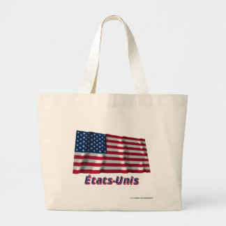 Drapeau États-Unis avec le nom en français Tote Bags