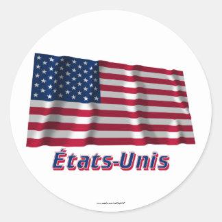 Drapeau États-Unis avec le nom en français Classic Round Sticker