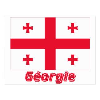 Drapeau Géorgie avec le nom en français Post Card