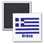 Drapeau Grèce avec le nom en français Fridge Magnets