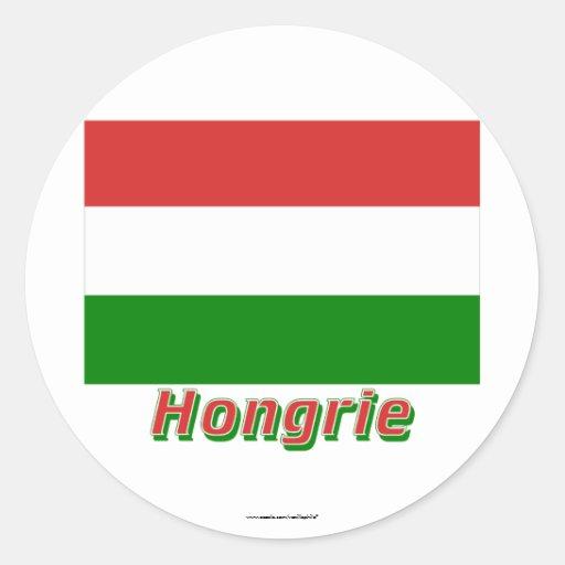 Drapeau Hongrie avec le nom en français Stickers