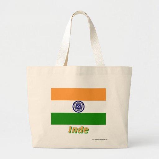 Drapeau Inde avec le nom en français Jumbo Tote Bag