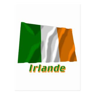 Drapeau Irlande avec le nom en français Postcard