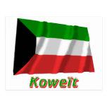 Drapeau Koweït avec le nom en français Post Card