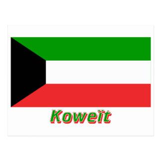 Drapeau Koweït avec le nom en français Postcard
