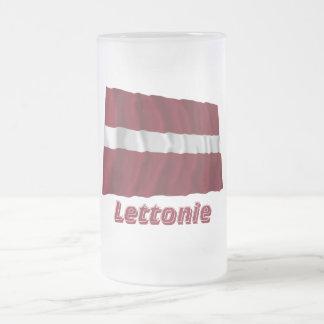 Drapeau Lettonie avec le nom en français Frosted Glass Beer Mug