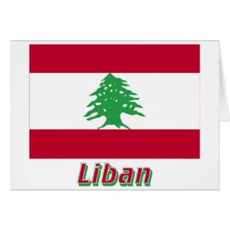 Drapeau Liban avec le nom en français Card