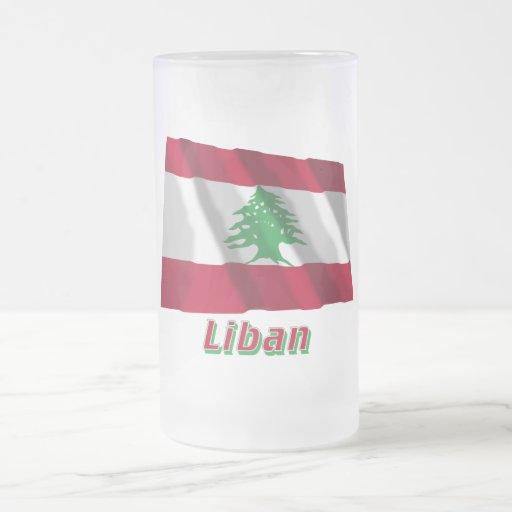 Drapeau Liban avec le nom en français 16 Oz Frosted Glass Beer Mug
