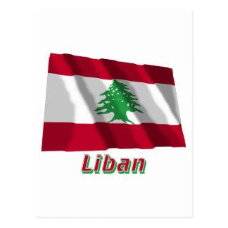Drapeau Liban avec le nom en français Postcard
