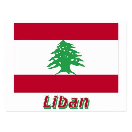 Drapeau Liban avec le nom en français Postcards
