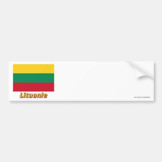 Drapeau Lituanie avec le nom en français Bumper Sticker