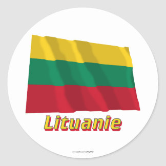 Drapeau Lituanie avec le nom en français Classic Round Sticker