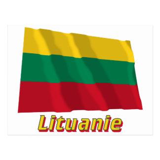 Drapeau Lituanie avec le nom en français Postcard