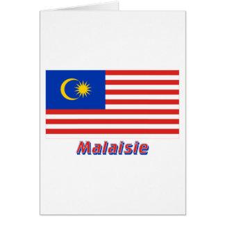 Drapeau Malaisie avec le nom en français Card
