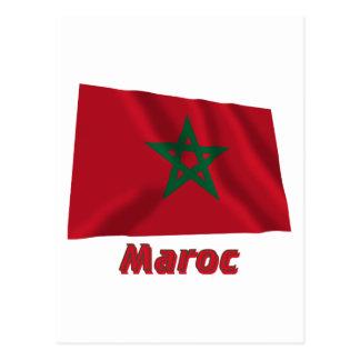 Drapeau Maroc avec le nom en français Postcards