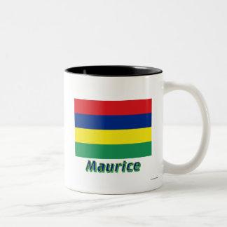 Drapeau Maurice avec le nom en français Two-Tone Coffee Mug
