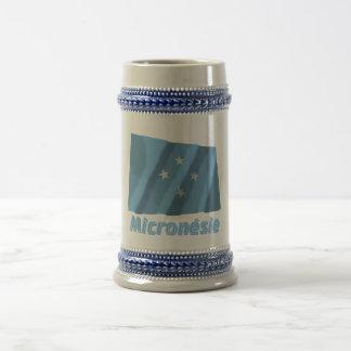 Drapeau Micronésie avec le nom en français 18 Oz Beer Stein