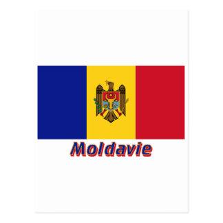 Drapeau Moldavie avec le nom en français Postcard