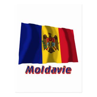 Drapeau Moldavie avec le nom en français Post Card