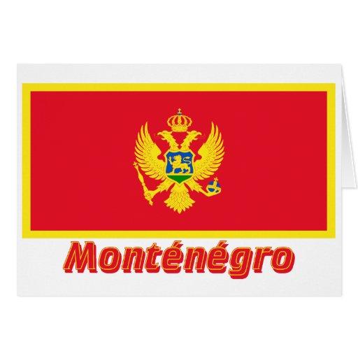 Drapeau Monténégro avec le nom en français Card