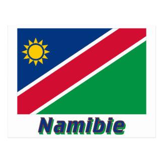 Drapeau Namibie avec le nom en français Postcard