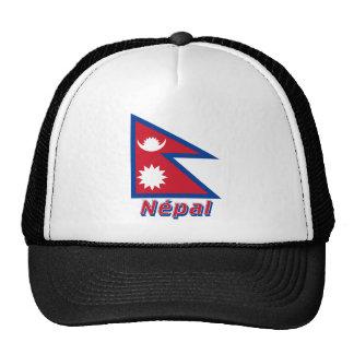 Drapeau Népal avec le nom en français Trucker Hat
