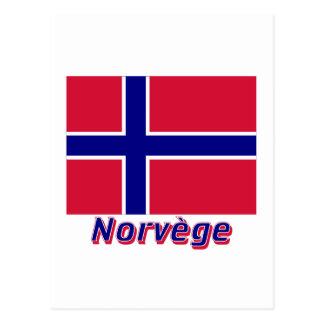 Drapeau Norvège avec le nom en français Post Cards