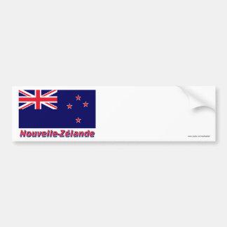 Drapeau Nouvelle-Zélande avec le nom en français Bumper Sticker