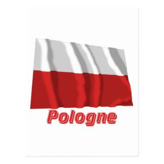 Drapeau Pologne avec le nom en français Postcard