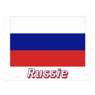 Drapeau Russie avec le nom en français Post Cards