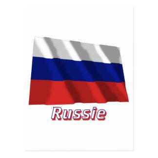 Drapeau Russie avec le nom en français Postcard