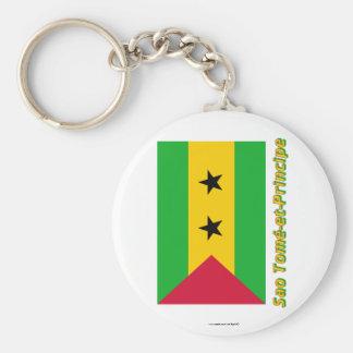 Drapeau Sao Tomé-et-Principe avec nom en français Keychain