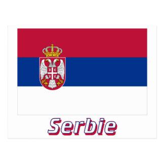 Drapeau Serbie avec le nom en français Postcards