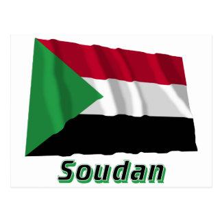 Drapeau Soudan avec le nom en français Postcard