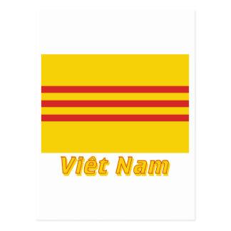 Drapeau Sud-Viêt Nam avec le nom en français Postcard