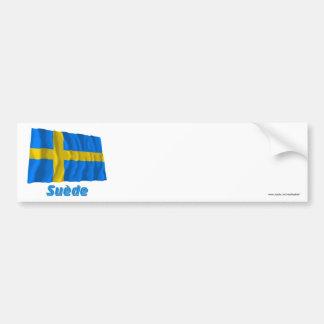 Drapeau Suède avec le nom en français Bumper Sticker