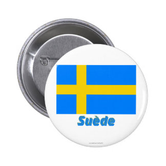 Drapeau Suède avec le nom en français Button