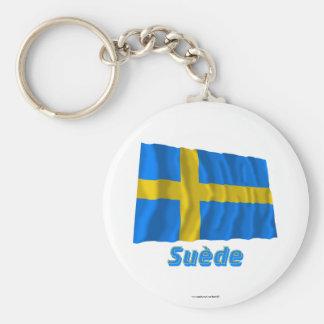 Drapeau Suède avec le nom en français Keychain