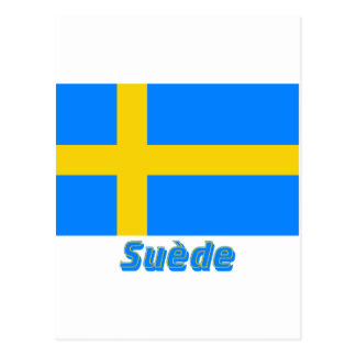 Drapeau Suède avec le nom en français Postcards