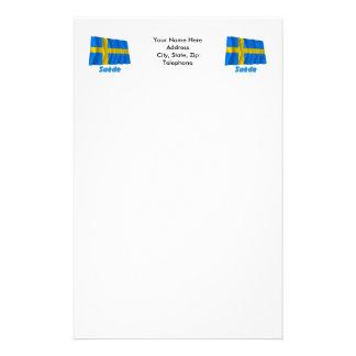 Drapeau Suède avec le nom en français Personalized Stationery