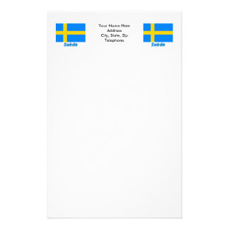 Drapeau Suède avec le nom en français Customized Stationery