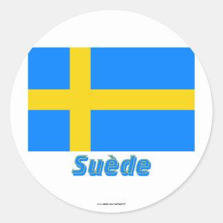 Drapeau Suède avec le nom en français Sticker
