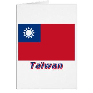 Drapeau Taïwan avec le nom en français Greeting Card