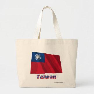 Drapeau Taïwan avec le nom en français Large Tote Bag