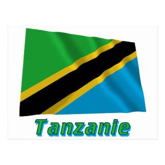 Drapeau Tanzanie avec le nom en français Postcards